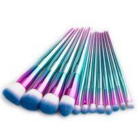 Wholesale metal made for sale - Group buy 12Pcs Rainbow Metal Makeup Brushes Set Glitter Diamond Makeup Brush Synthetic Hair Make Up Brush Professional Cosmetic Brush Tool Kit