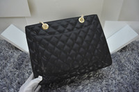 Wholesale Caviar Flap - Free Shipping! Fashion Black Caviar genuine Leather GST Bag Large Shopping Tote with Gold Hardware for women 35899