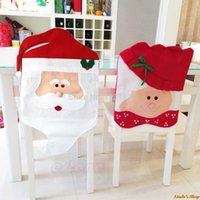 Wholesale Cheap Indoor Chairs - 1pair Santa Claus Christmas Dining Room Chair Cover Best Christmas Decorations for Christmas Dinner and Party Cheap Wholesale