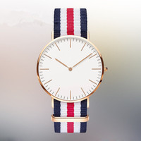 Wholesale Watch Couple Rose Gold - Rose Gold Dial Nylon Sport Watches Fashion Men Women Casual Quartz Wristwatch 2016 Luxury Unique Couple Gift Clock Water proof