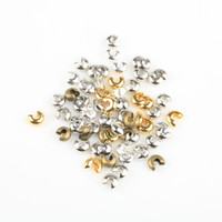 Wholesale Diy Gold End Crimps - 200Pcs  lot Silver Gold Plated 5mm Crimp Beads Knot Covers ENd Beads Jewelry Finding For DIY Making