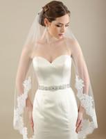 Wholesale Scalloped Edge Bridal Veil - 1-tier Wedding Veils with Alençon Scalloped Lace Style V7300 Ivory Champagne White Bridal Veil Custom Made Knee Length Rolled Edge