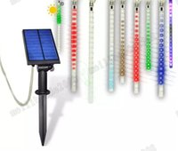 Wholesale Meteor Tubes Leds - NEW RGB 10 Tubes Solar String Light 360 LEDs Falling Rain Drop Meteor Shower RGB String Light Xmas Tree Decor Garden Light MYY