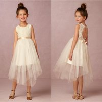 Wholesale Simple Flower Dresses Kids - BHLDN 2017 Simple White Ivory Flower Girl Dresses A Line Jewel Neck Short Tulle Kids First Communion Birthday Party Gowns with Sash