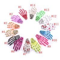 Wholesale Skull Barrettes - 100pcs(not pair) Hallowmas Gift Skeleton Claws Skull Hand Hair Clips Hairpin Zombie Punk Horror Hairwear Hairpin Bobby Pin