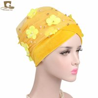 Wholesale africa flowers - New Fashion 3D Flower Beaded Extra Long Mesh and Velvet Turban Head Wrap Nigerian Turban Stylish Head scarf Women Africa Hijab