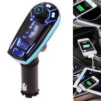 Wholesale Car Charger 12v Output - Portable Car Audio FM Transmitter Bluetooth MP3 Player USB Output Wireless Car Kit Charger Blue High Quality
