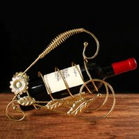 Wholesale Wrought Iron Metal Shelf - Wrought Iron Wine Rack Creative Bicycle Wine Bottle Holder Shelf Vinho Rejilla Para Copas Kitchen Accessories Decoration Racks
