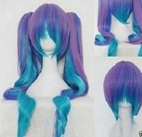 Wholesale Hair Pastel Sets - free shipping charming beautiful new Hot sell Best Fashion Gothic Lolita Wig + 2 Tails Set Pastel Rainbow Blend Cosplay wigs