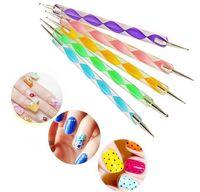 Wholesale Nail Art Pen Way - New Arrive 2-way Dotting Pen Marbleizing Tool Nail Polish Paint Manicure Dot Nail Art Set 5 pcs lot Free Shipping
