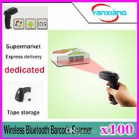 Wholesale Barcode Scanner For Android - 100pcs New Arrival! Wireless Bluetooth Barcode Scanner Code Reader For Iphone IOS Android Windows Scanners Portable Scanner YX-SM-1