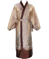 Wholesale Chinese Robe Men - Wholesale-New Arrival Novelty Male Silk Long Robe Chinese Men Rayon Nightgown Kimono Bath Gown Unisex Casual Sleepwear Plus Size NM025