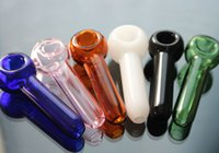 Wholesale manufacturing tobacco resale online - About cm Length Colorful glass smoking pipe Manufacture hand blown spoon pipe Mini Tobacco Glass smoking Hand Pipes
