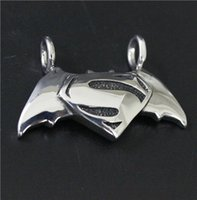 Wholesale Real Bats - New Style Mens Cool Silver Fighting Superman Bat Man Pendant 100% Good Quality Real MC Biker Mens Pendant
