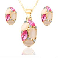 Wholesale Semi Precious Stone Necklace Sets - Ruby.Ruth Simulated Jewelry Sets African Beads Fashion Necklace Earrings 18k Gold Plated Semi-precious stones prom jewelry sets