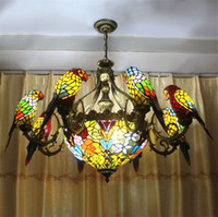 Wholesale Style Lamp Living Room - FUMAT Parrots Tiffany Stained Glass Pendant Lamp Vintage Style Chandeliers Glass Suspension Light Dining Room Pendant Light