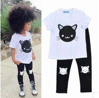 ingrosso abiti di gatto bianco-Set di abbigliamento per bambini T-shirt bianca Pantaloni neri Set due pezzi Cute Cat T-shirt a maniche corte Legging Pants Tuta estiva per bambina