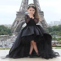 Wholesale Kids Pink Prom Dresses - Black Pageant Dresses For Little Girls Long Sleeve Hi Low Flower Girl Dresses Kids Prom Birthday Dresses