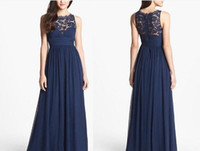 Wholesale Royal Blue Empire Waist Dresses - 2017 Navy Blue Bridesmaid Dresses Chiffon Long Floor Length Empire Waist Maid of Honor Jewel Neck Sheer Zipper Lace Back Honor Bridal Gowns