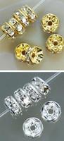 weiße metallarmbänder großhandel-8MM Weiß Crystal Spacerght Metall Gold versilbert jede Farbe 500 Stück Rondelle Strass lose Perlen DIY machen passendes Armband