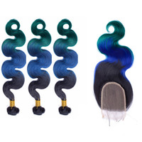 Wholesale Green Machine Parts - Ombre Brazilian Hair Body Wave With Lace Closure #1B Blue Green Free Part Closure With Bundles Ombre Three Tone Body Wave Wavy Hair