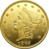 Wholesale Gold Coins China - United Stated Liberty Head Gold coins 1865 Value Twenty Dollars Brass Copy Coin