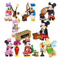 Wholesale Cartoon Mickey Building Blocks Mini Donald Duck Figures Block Toys For Children Bricks Kids Gifts Toy