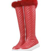 kanisterstiefel großhandel-Der Winter mit Flat Boots lange Kanister lange flache Sub Winterstiefel mit dicken warmen Kaschmir