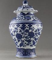 ingrosso statua della mano della porcellana-Antiquariato Very good China Fiore dipinto a mano in porcellana bianca e blu vaso statua decorazione della casa