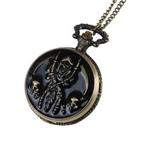 Wholesale Antique Watch Fob - Enamel Skull Death Grim Reaper Pocket Watches Bronze Round Fob Watch Quartz Watch Locket Necklaces women Hallowmas jewelry Gift 230228