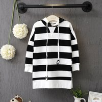 Wholesale Children Hoodies Sweat - Wholesale- Children girls Stripe Sweatshirts Long hooded dress Fashion spring Children cotton cute sweat dress long sleeved Hoodies dresses