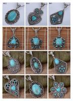 european tibetan style beads achat en gros de-Collier pendentif perles européen bricolage femmes DFMTQN2, creux collier tibétain argent turquoise (avec chaîne) 12 pièces beaucoup de style mixte