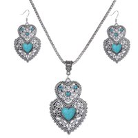 Wholesale Precious China - Heart flower 3 Styles opal turquoise tiger's-eye amethyst semi precious stone rhinestone openwork pendants necklaces earring dangle set