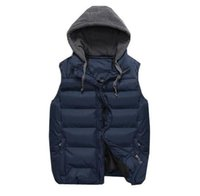 Wholesale Men S White Sleeveless Jacket - Wholesale- Winter 2018 new men's vest male Waistcoat casual detachable hooded vest jacket Men down sleeveless brand Outerwear & Coats M