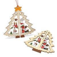 ingrosso ornamento di natale di campana-Ornamento in legno intagliato per la finestra dell'albero di Natale Pentagram Bell Hanging Pendant Easy To Use Decorazione durevole 2 1zy B R