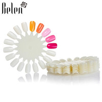 Wholesale Nail Tips Display Color Chart - Wholesale-Belen 10PCS Natural White Wheel Polish Color Display Chart Round 180 False Nail Tips False Tips Nail Art Design Acrylic Polish