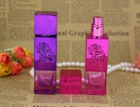 Wholesale Beautiful Empty Spray Bottle - Wholesale Glass Colorful Mix Order Empty 30ml Spray Bottle Beautiful Rose Carving Perfume Small Refillable Bottle 50pcs lot Free Shipping