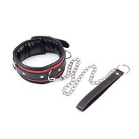 Wholesale Sex Collar Leashes - Balck red artificial Leather Bdsm Fetish Bondage Sex Collar And Leash Adult Game Collars Sex Toys Slave Collar Erotic Metal traction chain