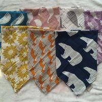 Wholesale Muslin Bibs - 60CM*60CM Baby INS Bibs Aden Anais Swaddle Cartoon Animal Cotton bibs Muslin BathTowel Bamboo Anais Burp Cloths 7 design choose B001