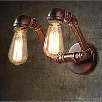 ingrosso pareti di bronzo-Lampada da parete vintage a pipa ad acqua American Country Industrial Styl RH Loft 2 testate Applique a muro Vintage Bronze Iron Art Lustree