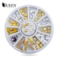 Atacado - Novo! Shell Starfish Sea Design Gold Silver Alloy 3d Nail Art Rhinestone Decoração Wheel Charm Studs Spike Jewelry Manicure Tool