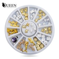 Wholesale Sea Shell 3d Nail Art - Wholesale- New! Shell Starfish Sea Design Gold Silver Alloy 3d Nail Art Rhinestone Decoration Wheel Charm Studs Spike Jewelry Manicure Tool