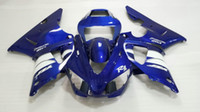 ingrosso 98 carena yamaha yzf r1-Injectiion Mold for YAMAHA YZFR1 1998 1999 kit fai da te YZF R1 YZR1000 R1 98 99 bianco blu Fairings set KJ14