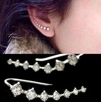 Wholesale Ear Hook Flower - 2017 New Trendy Four-Prong jewelry 20pcs Wholesales Top Quality Setting 7pc Cubic Zircon Ear Hook Fashion Women Stud Earrings Can mix color