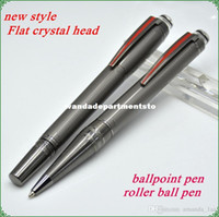 Wholesale Starwalker Pen - Luxury StarWalker Crystal flat top design MB grey roller ball pen   ballpoint pen with red plated clip stationery office brand writing pens