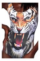 Wholesale White Tiger One Piece - realistic tiger mouth adicolo personality leopard domineering lion white lion Retro lion digital printing vest style swimwear