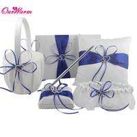 Wholesale Guest Basket - 5pcs Set Double Diamante Heart Ring Pillow Cushion Set for Wedding decor Pen Set Guest Book Flower Basket Ring Pillow Garter