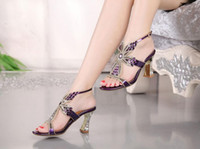 Wholesale Diamond Thick Heel Shoes - Leather high-heeled sandals 2016 summer new diamond diamond ladies sandals with thick sexy toe fish mouth shoes free shipping