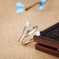 925 ring echte perle großhandel-Echtes Sterling Silber 925 plattiert Weißgold Semi Mount Verlobungsring für Perle oder Runde Perle 5mm 6mm 7mm feine Schmuckeinstellung