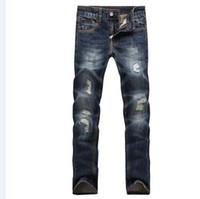 Wholesale Korean Jeans Pants For Men - Christmas gift for!European hot sell men's leisure trousers jeans Korean wave pants feet